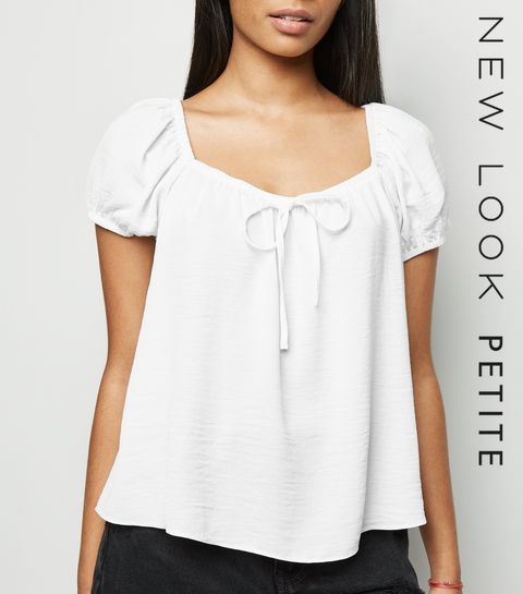 ... Petite White Tie Front Square Neck Top ... 2cb2d3fe2