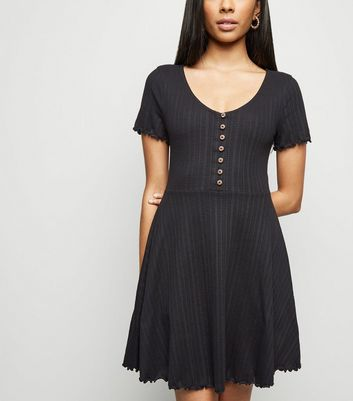 Petite Black Button Up Skater Dress