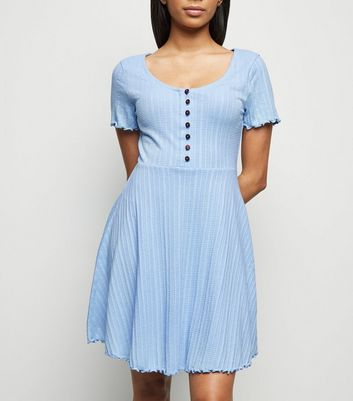 Petite Pale Blue Textured Button Up Skater Dress
