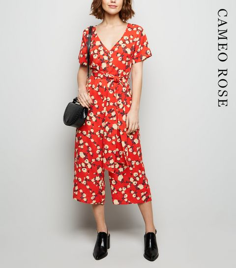 dce92bf9927 ... Cameo Rose Red Floral Culotte Jumpsuit ...