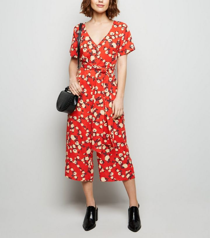 c2ee1621b0 Cameo Rose Red Floral Culotte Jumpsuit