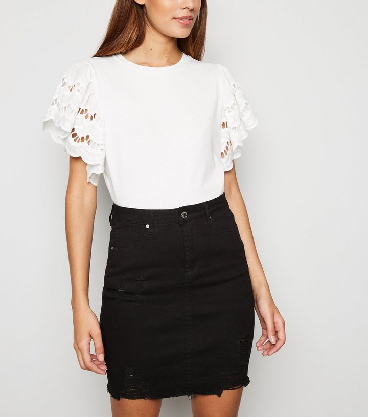 e4e778472b Cameo Rose Black Ripped Denim Skirt | New Look