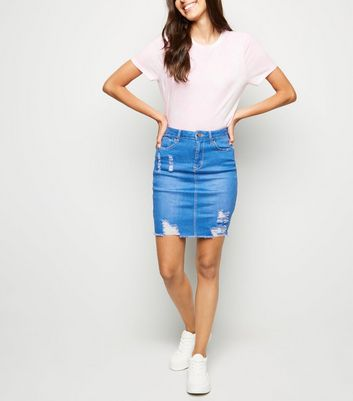 shop for Cameo Rose Bright Blue Ripped Denim Skirt New Look at Shopo
