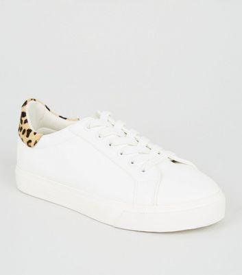 Girls White Leopard Print Leather Heel