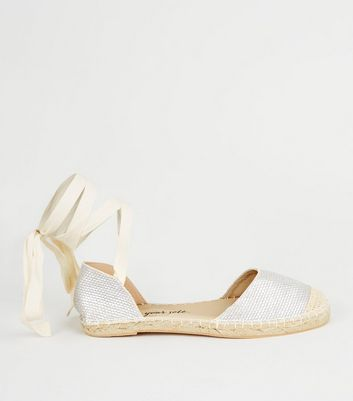 Silver Woven Ankle Tie Espadrilles