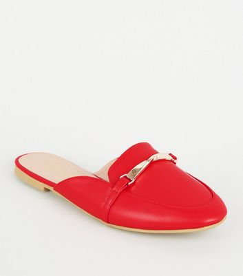 Red Leather Look Twist Bar Loafer Mules