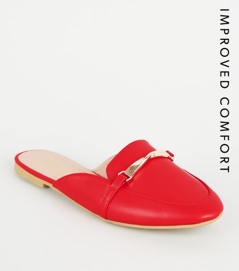 fd68d01ea051 ... Red Leather Look Twist Bar Loafer Mules ...