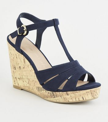 Wide Fit Navy Suedette Strappy Cork Wedges