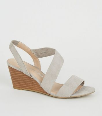 Wide Items Saved Fit Add Remove Strappy Suedette To Grey Wedge From Sandals ZTwOXkPiul