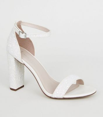 Wide Fit Off White Glitter Block Heels