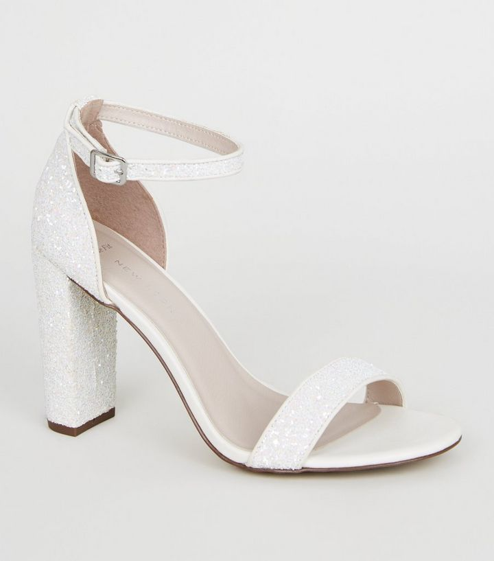 best loved picked up Good Prices Wide Fit Off White Glitter Block Heels Add to Saved Items Remove from Saved  Items