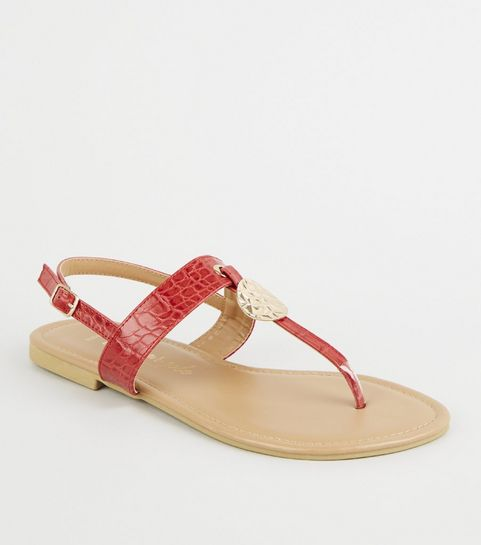 5a6797c66 ... Wide Fit Red Faux Croc Hammered Sandals ...