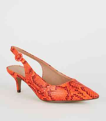 23953dca1ac Wide Fit Orange Neon Faux Snake Slingback Heels ...