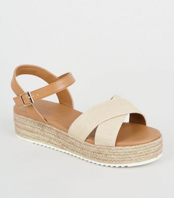 Wide Fit Off White Woven Cross Strap
