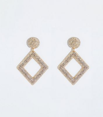 Gold Premium Diamanté Drop Earrings by New Look