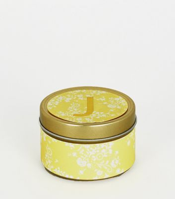 Gold Floral J Initial Tin Scented Candle