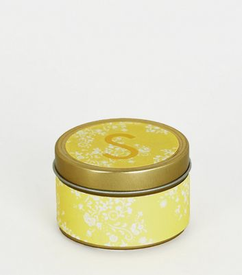 Gold Floral S Initial Tin Scented Candle