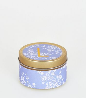 Gold Floral L Initial Tin Scented Candle