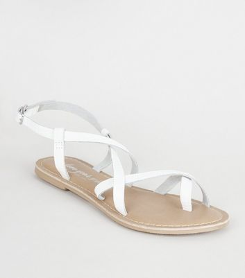White Leather Faux Croc Strappy Sandals