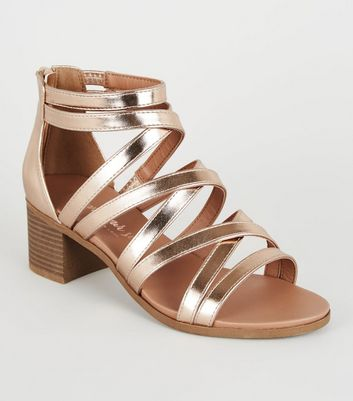 Rose Gold Metallic Strappy Low Heel Sandals