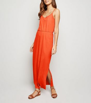 JDY Bright Orange Side Split Maxi Dress