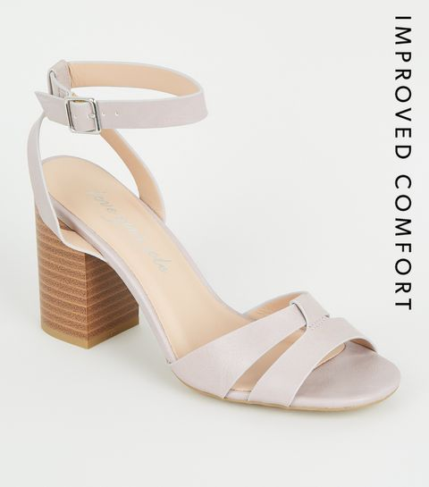 d251bcdd4e ... Lilac Leather-Look 2 Part Block Heels ...