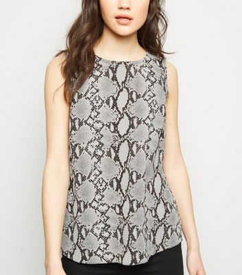 Light Grey Snake Print Sleeveless Top