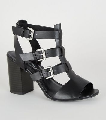 Black Leather-Look Caged Block Heels
