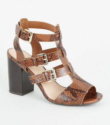 Brown Faux Snake Caged Block Heels