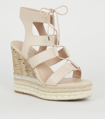 Nude Embellished Lace Up Ghillie Wedges
