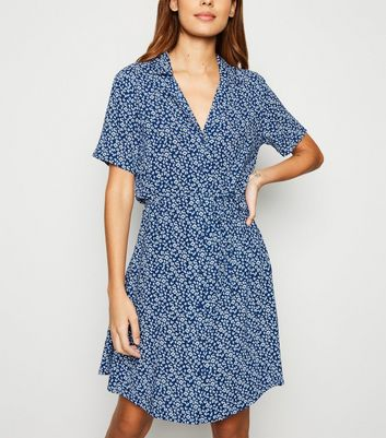 JDY Blue Floral Tie Waist Shirt Dress
