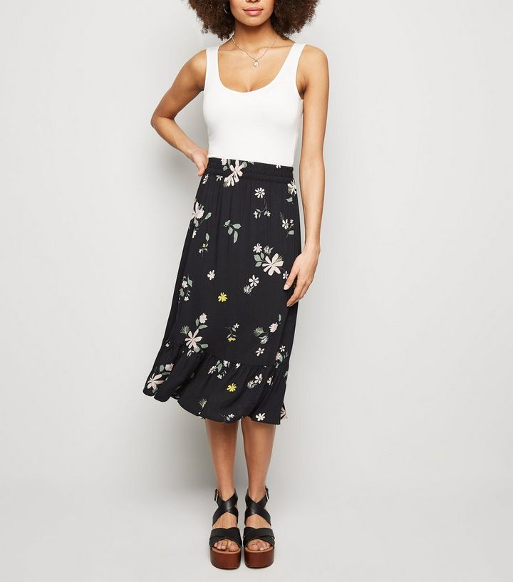 latest style hot sales best sneakers JDY Black Floral Frill Trim Midi Skirt Add to Saved Items Remove from Saved  Items