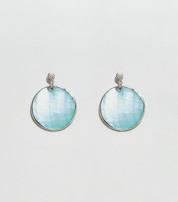 Pale Blue Shell Disc Earrings