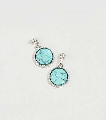 Turquoise Disc Drop Earrings New Look