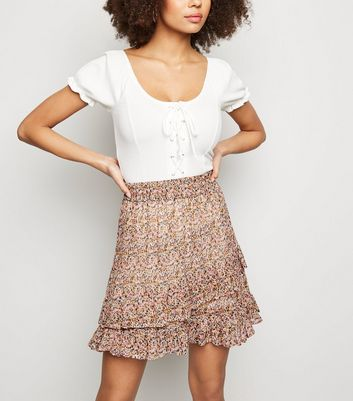 JDY Light Grey Floral Frill Trim Skirt