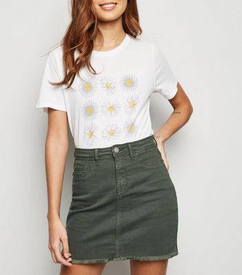 JDY Khaki Raw Hem Denim Skirt