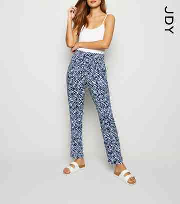 JDY Navy Floral Trousers