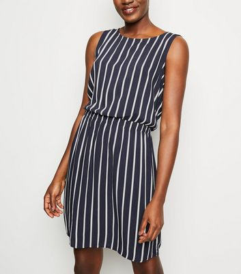 JDY Navy Stripe Sleeveless Skater Dress