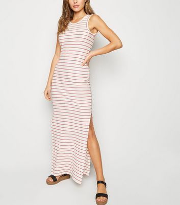 JDY White Stripe Ribbed Maxi Dress