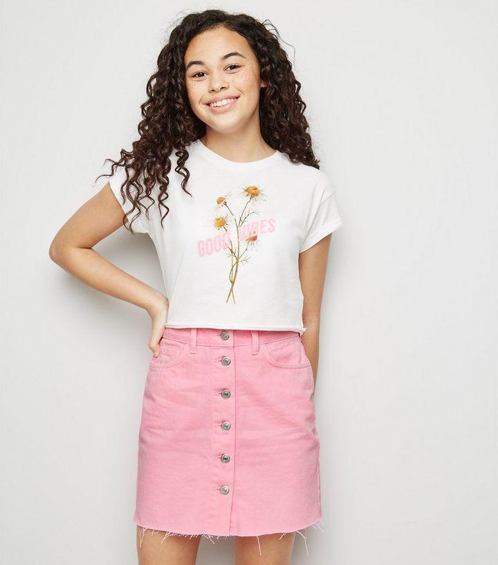 b36dc25092f9 Girls Bright Pink Neon Denim Skirt   New Look