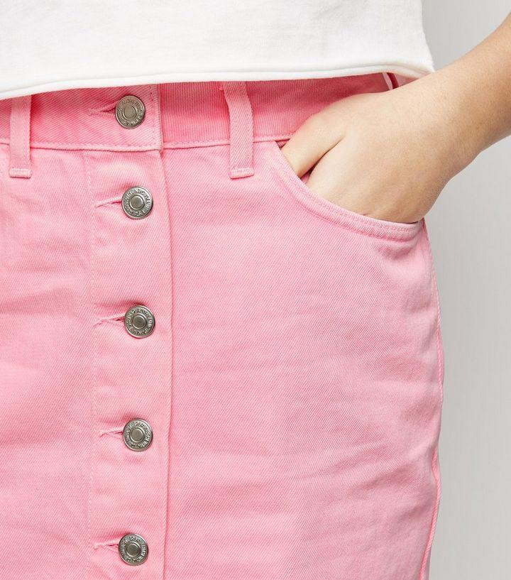 7cf1c446817b ... Girls Bright Pink Neon Denim Skirt. ×. ×. ×. Shop the look