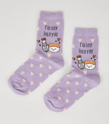 Purple I'M Soy Into You Slogan Socks
