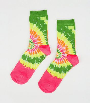 Multicoloured Neon Tie Dye Socks