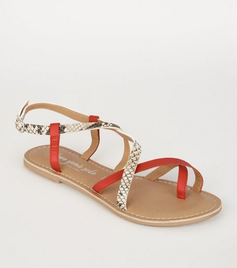 a30726ca23d ... Orange Leather Faux Snake Strappy Sandals ...