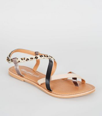 Brown Faux Leopard Fur Strappy Sandals