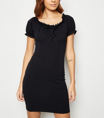 Black Milkmaid Mini Dress