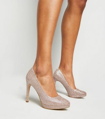 shop for Rose Gold Glitter Platform Stiletto Courts New Look Vegan at Shopo