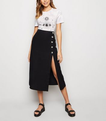 Black Linen Blend Button Front Midi Skirt