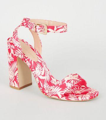 Bright Pink Satin Tropical Block Heels