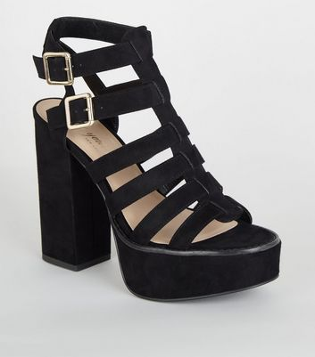 Black Suedette Platform Gladiator Sandals